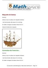 Fichier PDF exercices maquette de bateau maths cinquieme 1327