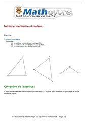 exercices mediane mediatrice et hauteur maths cinquieme 242