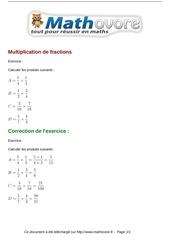 exercices multiplication de fractions maths cinquieme 485 1