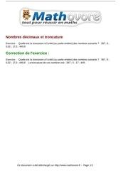 Fichier PDF exercices nombres decimaux et troncature maths sixieme 477