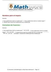 Fichier PDF exercices nombres pairs et impairs maths seconde 1010