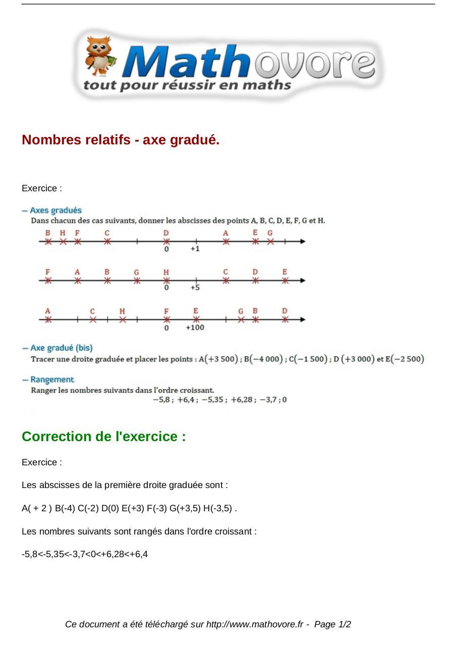 exercices-nombres-relatifs--axe-gradue-maths-cinquieme-243 ...