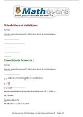 Fichier PDF exercices note d eleves et statistiques maths troisieme 819 1
