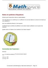 exercices notes et systemes d equations maths troisieme 944 1