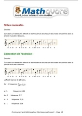 exercices notes musicales maths cinquieme 1310 1
