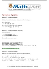 Fichier PDF exercices operations et priorites maths cinquieme 528 1