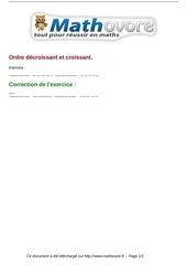 Fichier PDF exercices ordre decroissant et croissant maths sixieme 478