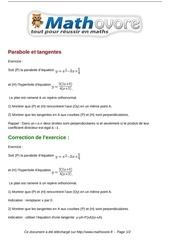 exercices parabole et tangentes maths premiere 1391