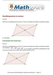 exercices parallelogramme et vecteur maths seconde 981