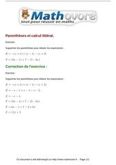 exercices parentheses et calcul litteral maths quatrieme 493