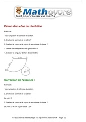 exercices patron d un cone de revolution maths quatrieme 696