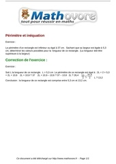 exercices perimetre et inequation maths troisieme 1453