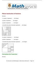 exercices pieces hachurees et fractions maths cinquieme 1313