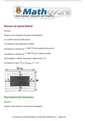 Exercices piscine et calcul litteral maths troisieme 835 for Calcul chauffage piscine