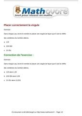 Fichier PDF exercices placer correctement la virgule maths sixieme 1210