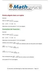exercices points alignes dans un repere maths seconde 995