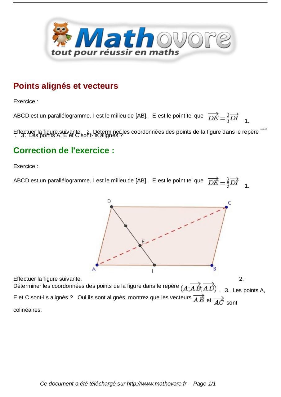 Exercices Points Alignes Et Vecteurs Maths Seconde 984 Fichier Pdf