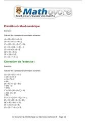 exercices priorites et calcul numerique maths cinquieme 1364