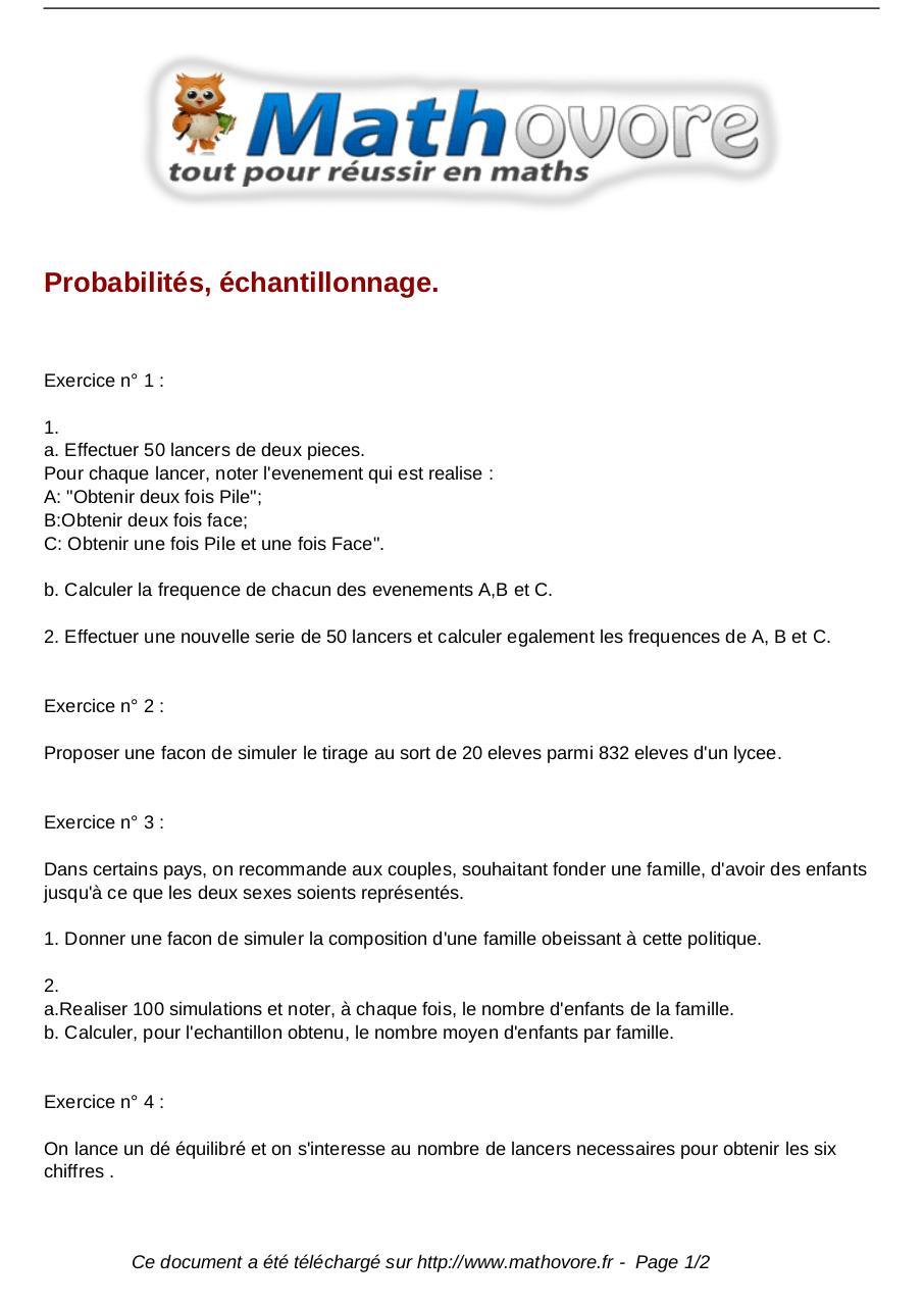 exercices probabilites echantillonnage maths seconde 140 ...