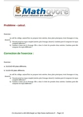 exercices probleme calcul maths sixieme 252