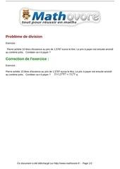 exercices probleme de division maths sixieme 1297