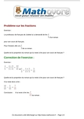 exercices probleme sur les fractions maths quatrieme 466