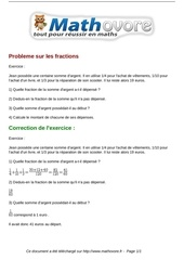 exercices probleme sur les fractions maths quatrieme 579