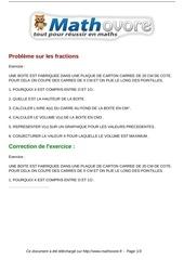 exercices probleme sur les fractions maths troisieme 581