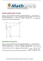 exercices produit scalaire dans un carre maths premiere 1063