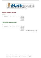 exercices produit scalaire et cube maths terminale 1173