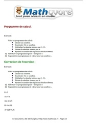 exercices programme de calcul maths quatrieme 226