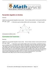 exercices pyramide reguliere et droites maths seconde 1013
