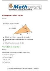 exercices pythagore et racines carrees maths troisieme 917