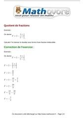 exercices quotient de fractions maths quatrieme 470