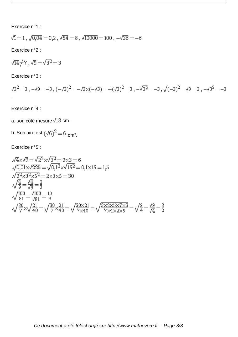 Exercices Racine Carree Maths Troisieme 167 Fichier Pdf
