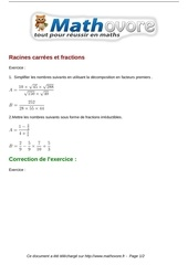 Fichier PDF exercices racines carrees et fractions maths seconde 438