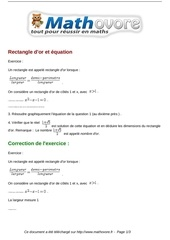 exercices rectangle d or et equation maths seconde 764