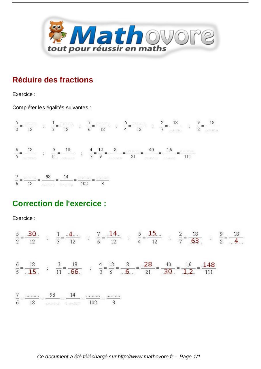 exercices-reduire-des-fractions-maths-cinquieme-1315 ...
