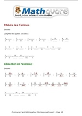 Fichier PDF exercices reduire des fractions maths cinquieme 1315