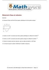 exercices reservoir d eau et volumes maths troisieme 1422