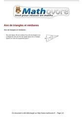 probleme aire de triangles et medianes maths 75