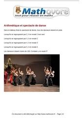 probleme arithmetique et spectacle de danse maths 150
