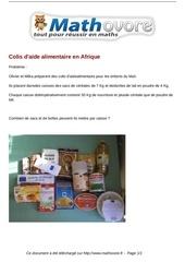 probleme colis d aide alimentaire en afrique maths 164