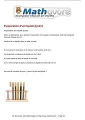 probleme evaporation d un liquide lycee maths 355