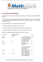 probleme les nombres de fibonacci maths 372
