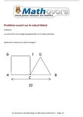 Fichier PDF probleme probleme ouvert sur le calcul litteral maths 391