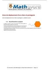probleme zone de deplacement d un chien et pentagone maths 8