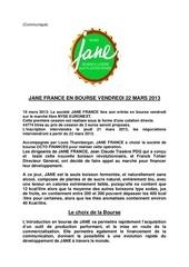 introduction en bourse de boisson jane le 22 mars 2013