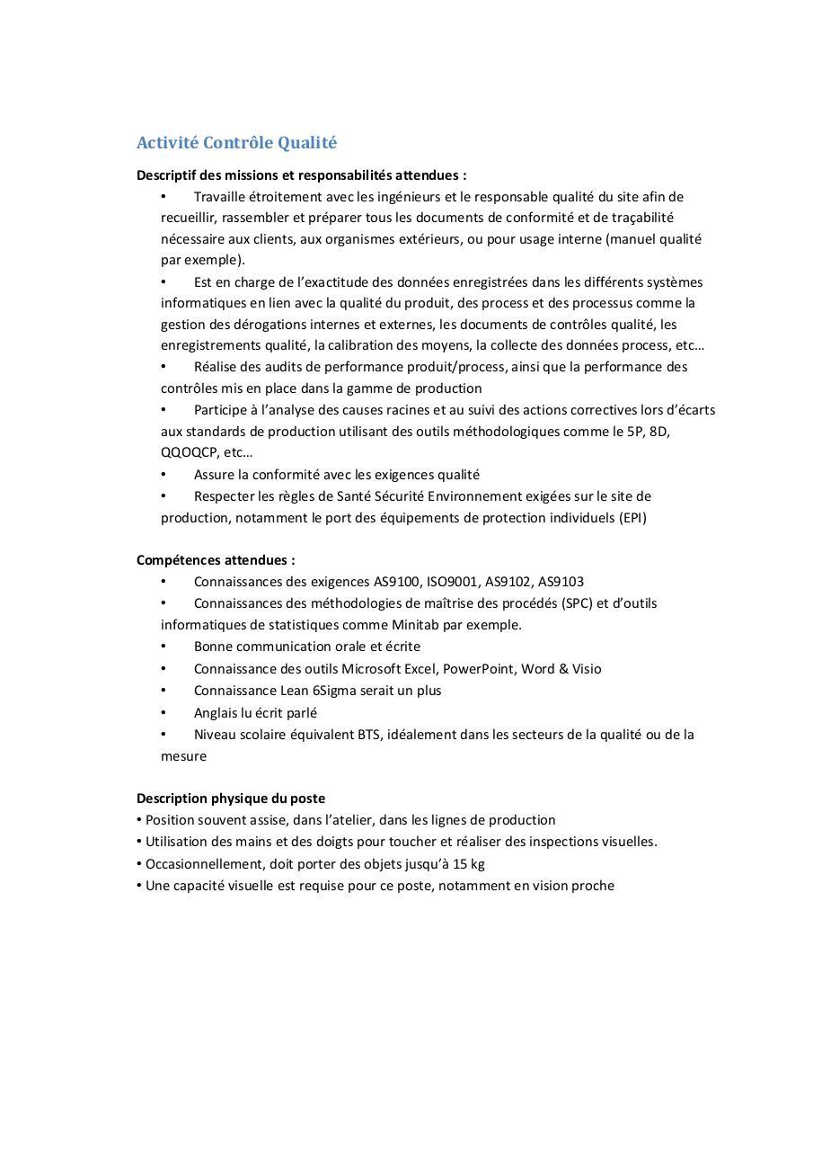 activit contr le qualit par corinne blaison fiche poste controle qualite pdf fichier pdf. Black Bedroom Furniture Sets. Home Design Ideas