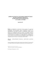 liberalisation de l economie problematique de developpement regional et routines institutionnelles le cas de la tunisie